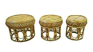 Northeast Handicrafts Cane Wood Bar Stool, Mudda, Garden Stool, Indoor Stool, Handmade (Set of 3)