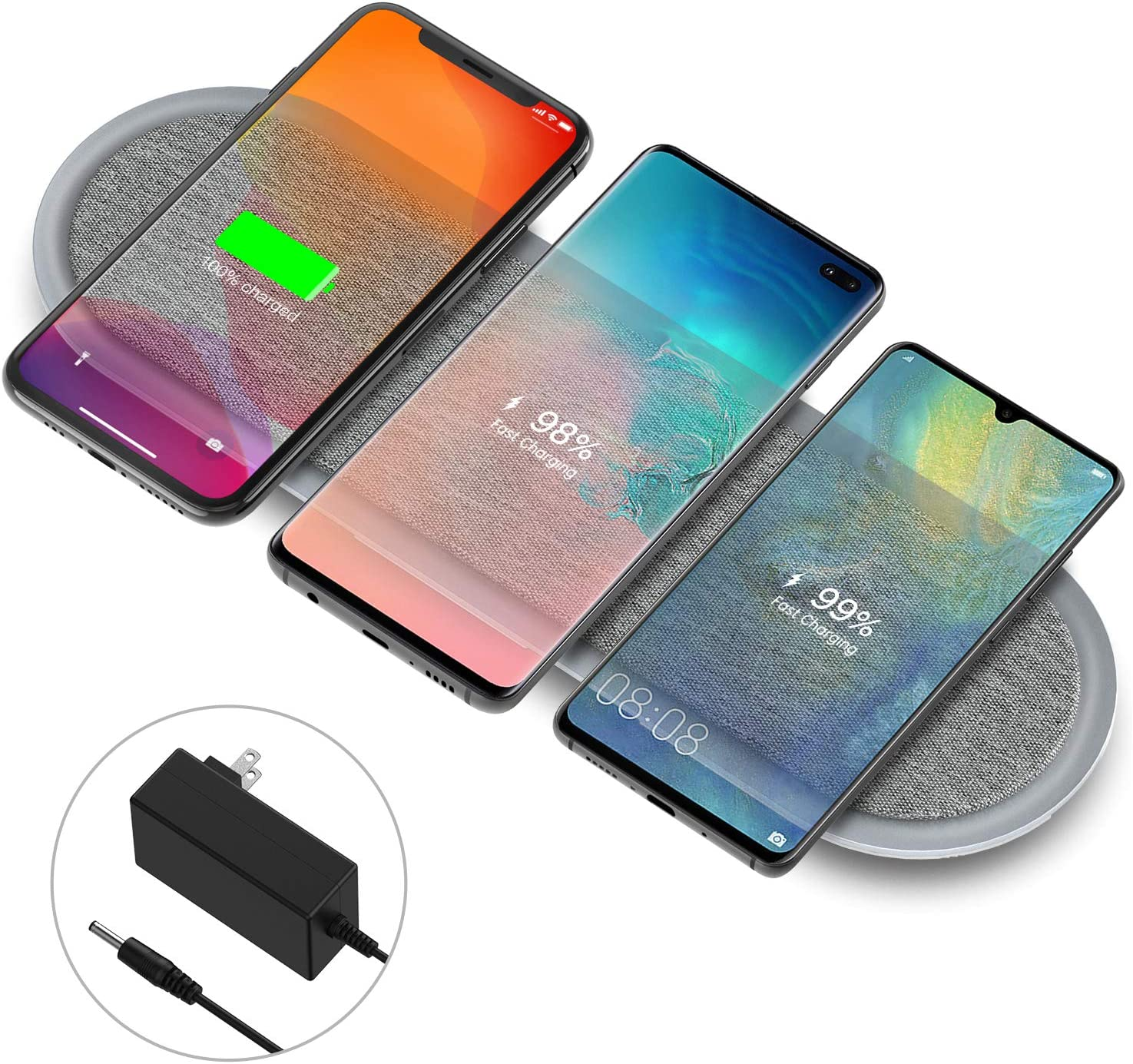 Wireless Charging Station, Lecone Qi Certified Fabric Triple Wireless Charger with Two USB Ports for Multi Devices iPhone SE 2020/11/11 Pro/11 Pro Max/XS/X/8,Galaxy S20/Note 10/S10 (Adapter Included)