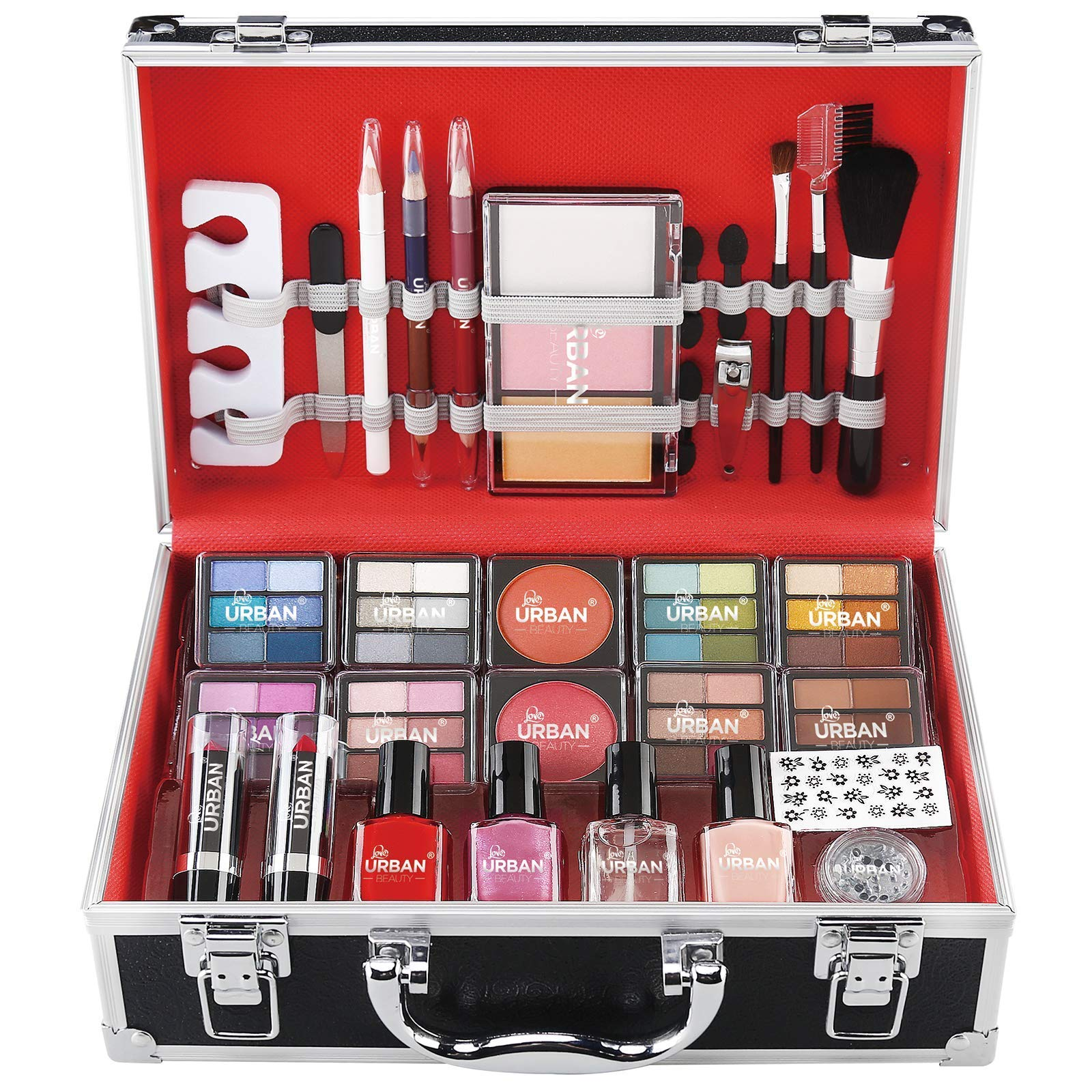 Love Urban Beauty - Divine Beauty French Manicure 76 Piece Makeup Box Gift Set - Eyeshadows Highlighter Lipstick Blush Brushes Teenage Vanity Carry Case