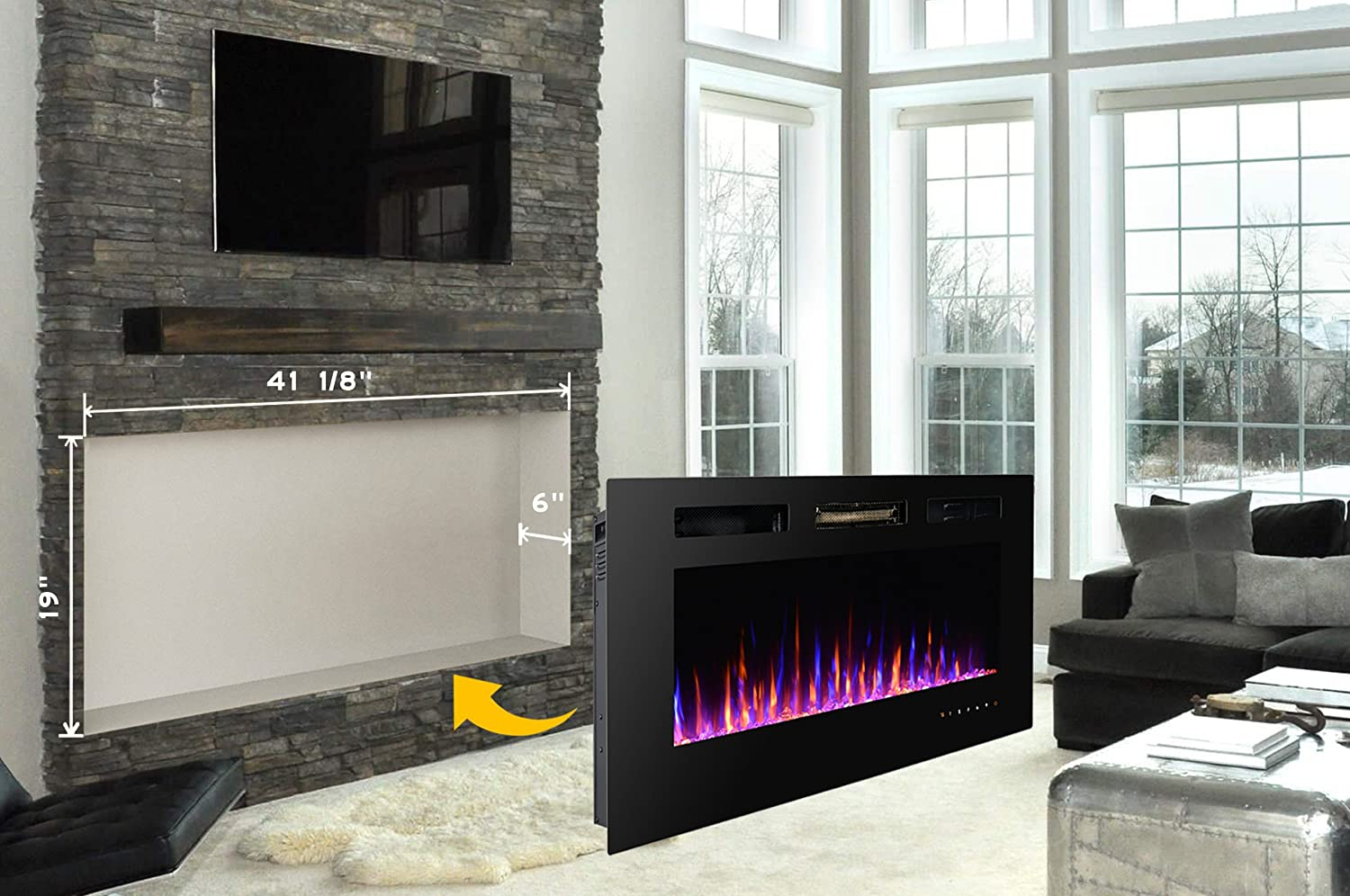 the products black touchstones touchstone home heat inch inc sideline fireplace electric recessed with wide in