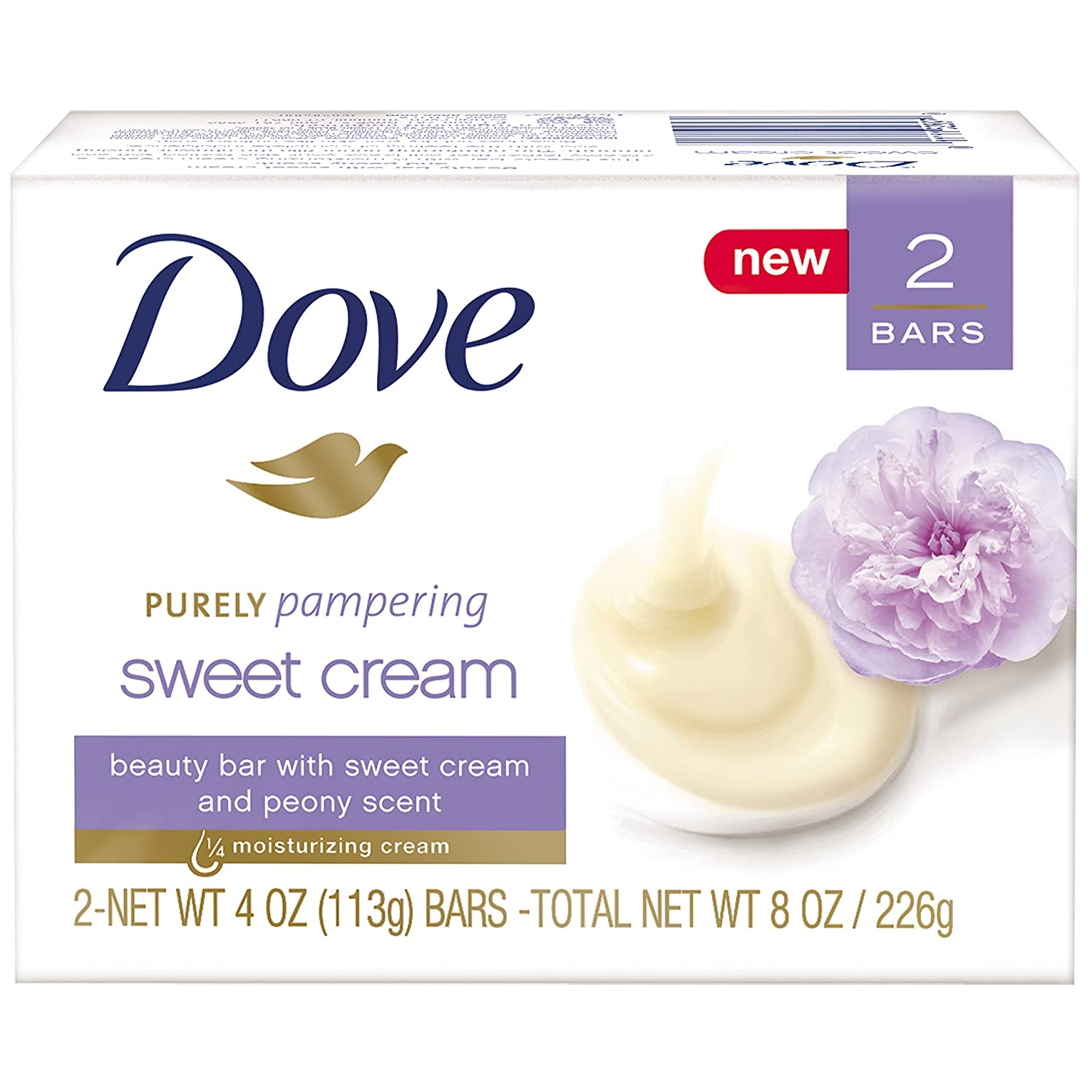 Dove Purely Pampering Beauty Bar Sweet Cream & Peony 4 oz, 2 Bar