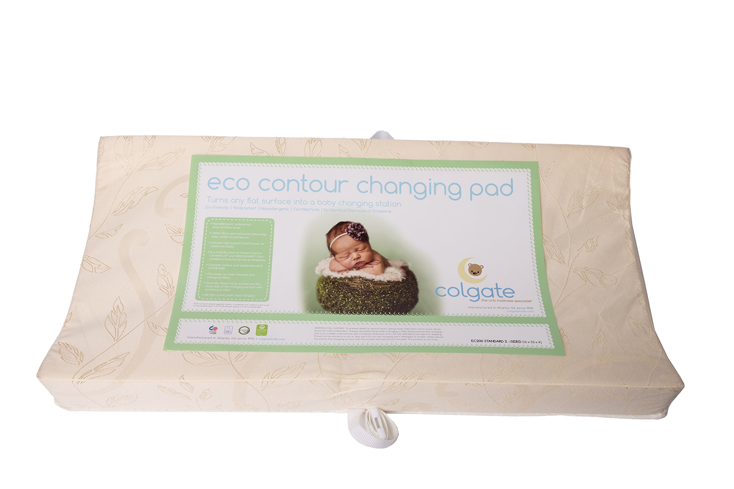 "Colgate EcoPad 2-Sided Contour Changing Pad - 33"" x 16"" x 4"" with Damask Cloth Waterproof Cover, Natural"