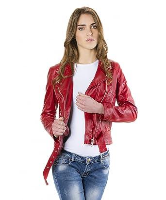 6542558c8558 D Arienzo - CHIODO • couleur rouge • veste en cuir femme perfecto cuir  plongé aspect lisse  Amazon.fr  Vêtements et accessoires