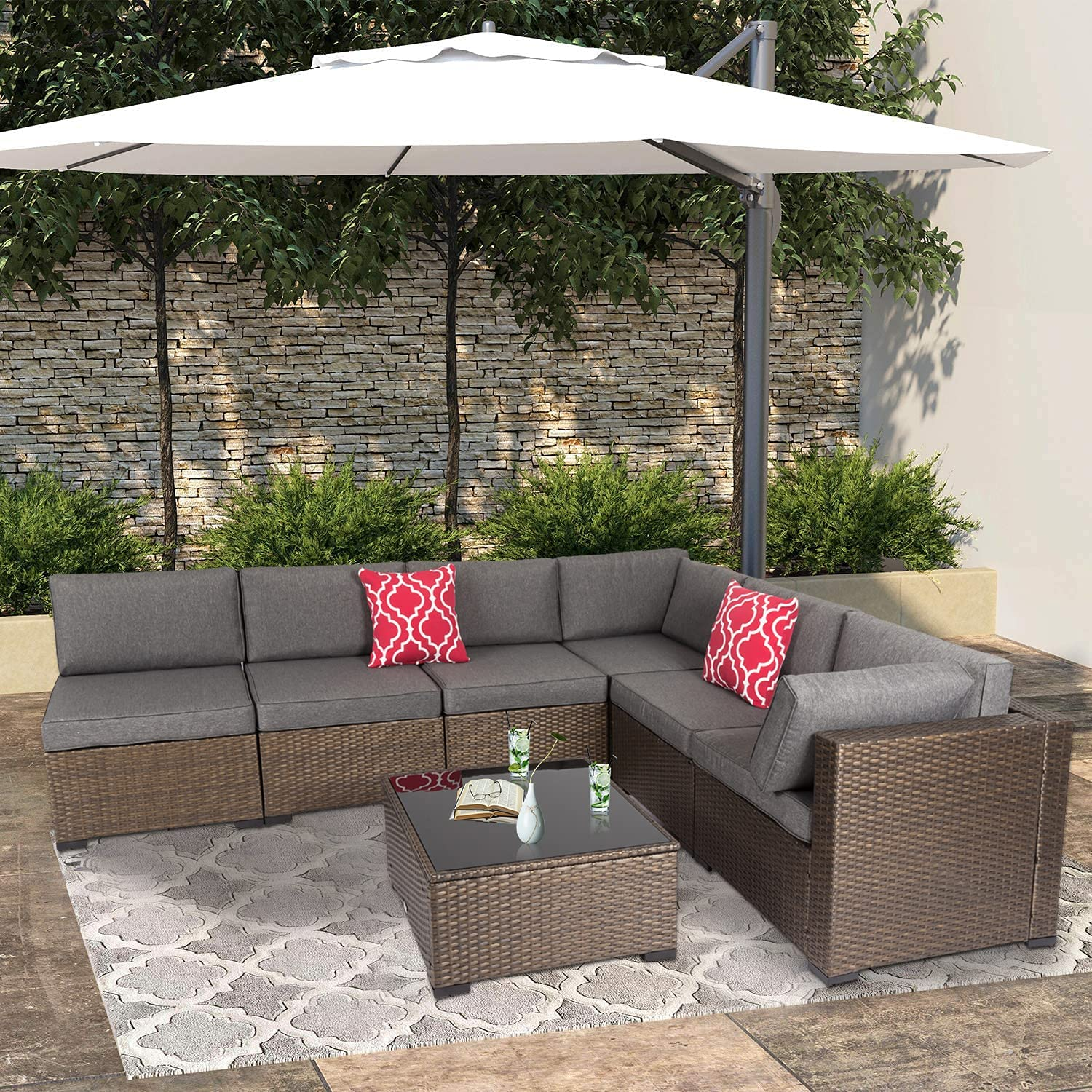 7 Piece Outdoor PE Wicker Furniture Set, Patio Rattan Sectional Sofa Couch with Washable Cushions,Glass Table and 2 Pcs Red Pillows for Garden,Backyard