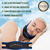 Calily Health Premium Adjustable Anti-Snoring Chin Strap – Natural and Instant Snore Relief – Stop Snoring Solution – Fast & Natural [UPGRADED VERSION]