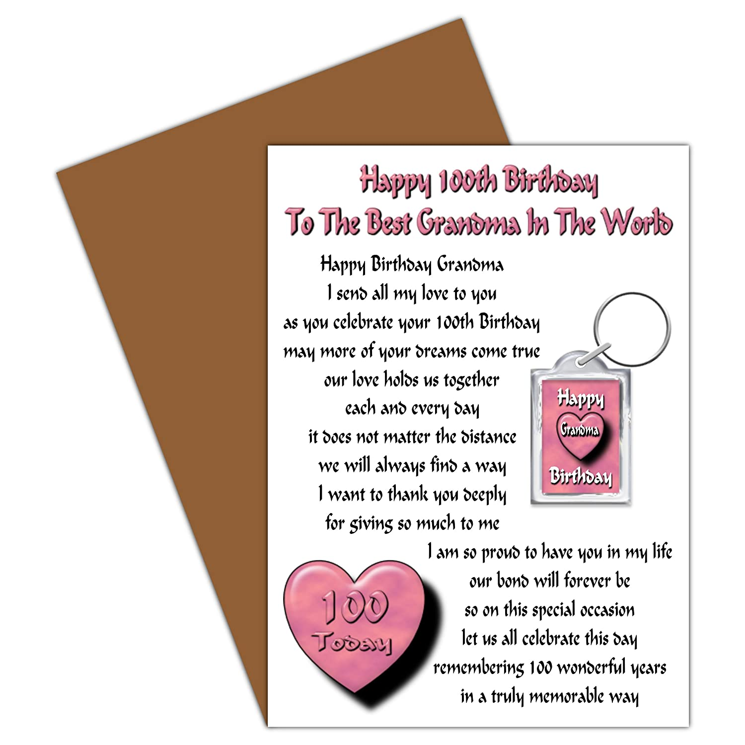 Grandma 100th Happy Birthday Card With Removable Keyring Gift