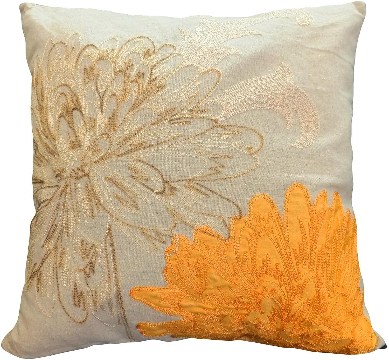 Blue Dolphin Decorative Flower Emboirdery & Applique Floral Throw Pillow Cover 18' Orange COMINHKR058082