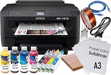 Kit Impresora SUBLIMACIÓN A3 WF-7210 Recargables 4 X 100 ML TINTAS ...
