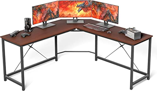 L Shaped Desk Home Office Desk Large Desk Panel. Coleshome Computer Desk Sturdy Computer Table Writing Desk Workstation, African Walnut