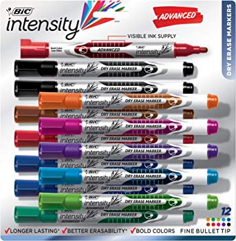 12-Count BIC Intensity Advanced Dry Erase Marker With Fine Bullet Tip