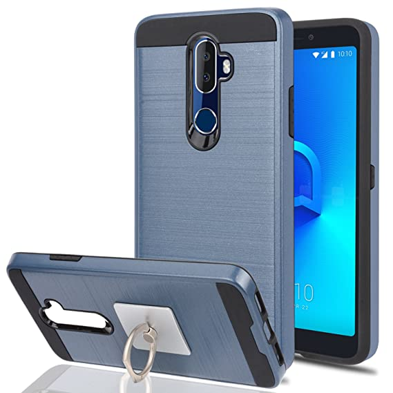 best service 44001 e83c5 Alcatel 3V Phone Case With Phone Stand,Ymhxcy [Metal Brushed Texture]  Hybrid Dual Layer Full-Body Shockproof Protective Cover Shell For Alcatel  3V-LS ...
