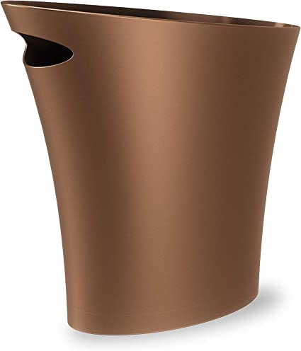 Umbra Skinny Waste Bin Sleek Stylish And Small Bathroom Trash Bin Wastebasket For Narrow Spaces At Home Or Office 7 5l Capacity Bronze Amazon Co Uk Kitchen Home
