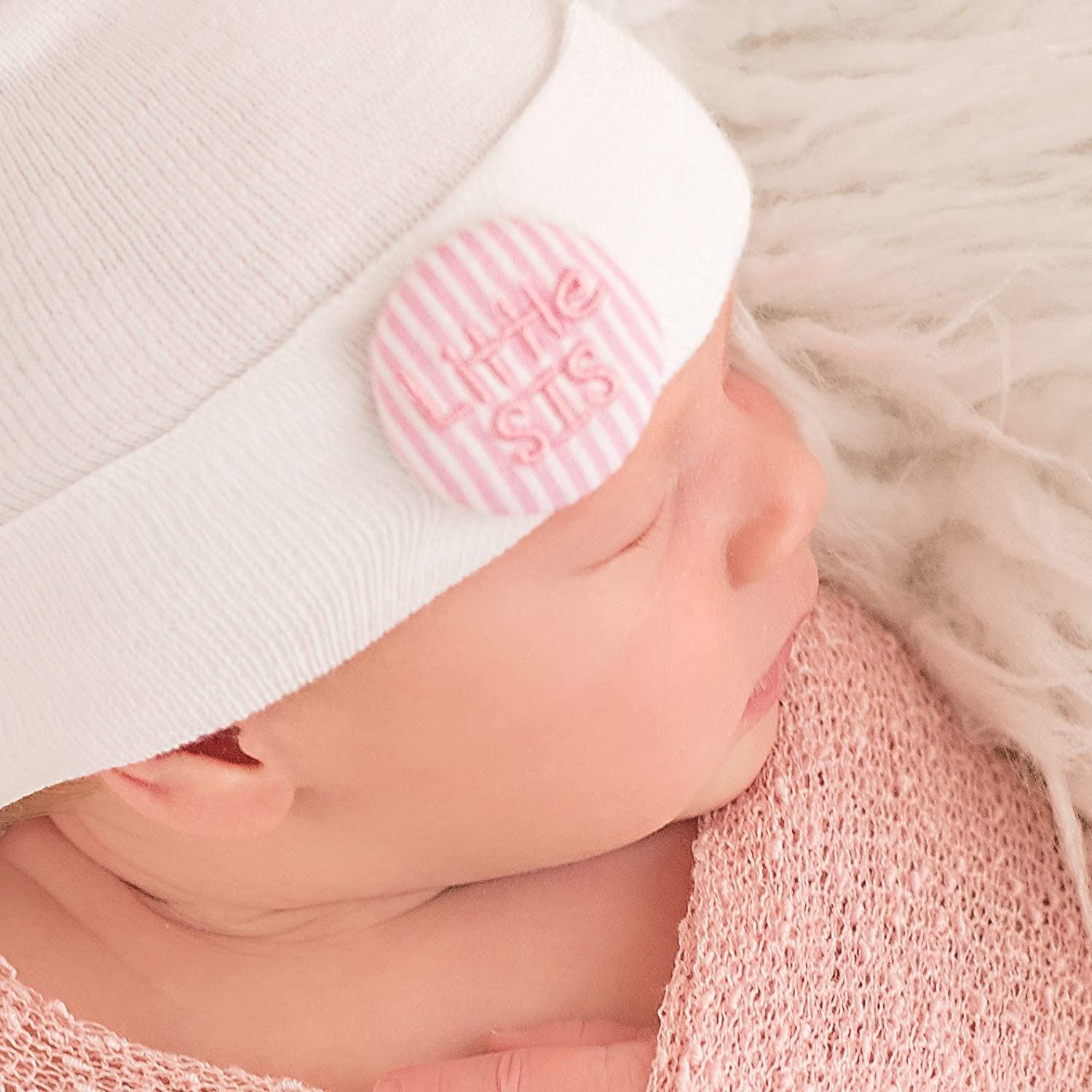 Melondipity Pink and White Seersucker Covered Button Little SIS Newborn Girl Hospital Hat