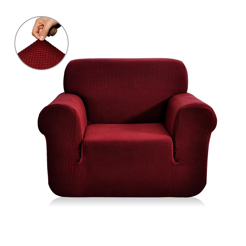 春意 1ピス 全13色 高品質伸縮素材 弾力 ジャカード生地ソファーカバー (1人掛け, ワインレッド) B00X59EIPQ Chair|ワインレッド ワインレッド Chair