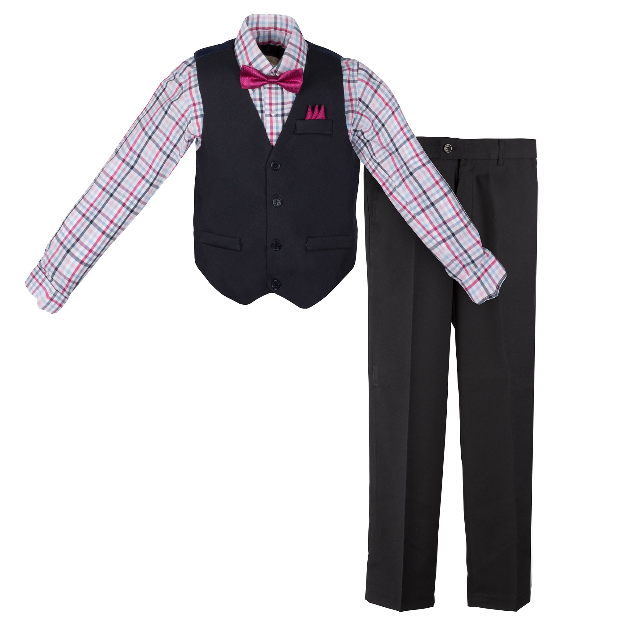 Vittorino Boys 4 Piece Suit Set with Vest Shirt Tie Pants and Hankerchief,Navy - Fuchsia,5