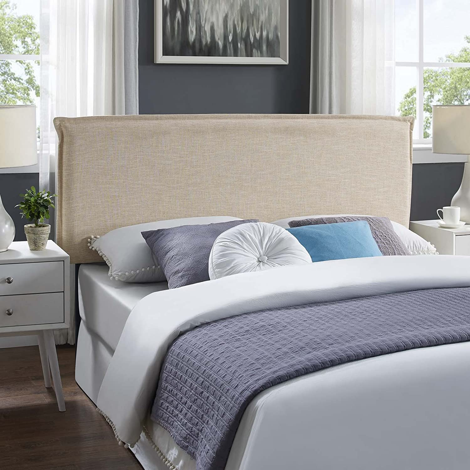 Modway Camille Linen Fabric Upholstered Queen Headboard in Beige with French Piping