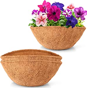 LAVEVE Coco Coir Liner Replacement for Plant Hanging Basket, 2 PCS 12 Inches Round 100% Natural Thick Coconut Fiber Liner for Garden Flowers Vegetables Pot/Box Basket Planter