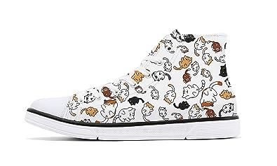 bd1124e9a8915 FIRST DANCE Classic Canvas Shoes Cute Cat Print Sneaker High Top Lace Up  Lightweight (9B(M) US)