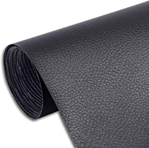 Sofa Leather Stickers self-Adhesive Leather Repair Stickers Simulation Leather Used in Sofas, Furniture, Driver Seats(Black,19.7x54 inch)