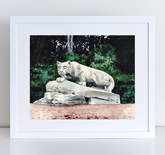 Penn State Nittany Lion Shrine Giclee Art Print Watercolor Painting Wall Home Decor PSU Masters Degree Graduation Gift University of Pennsylvania Happy ...