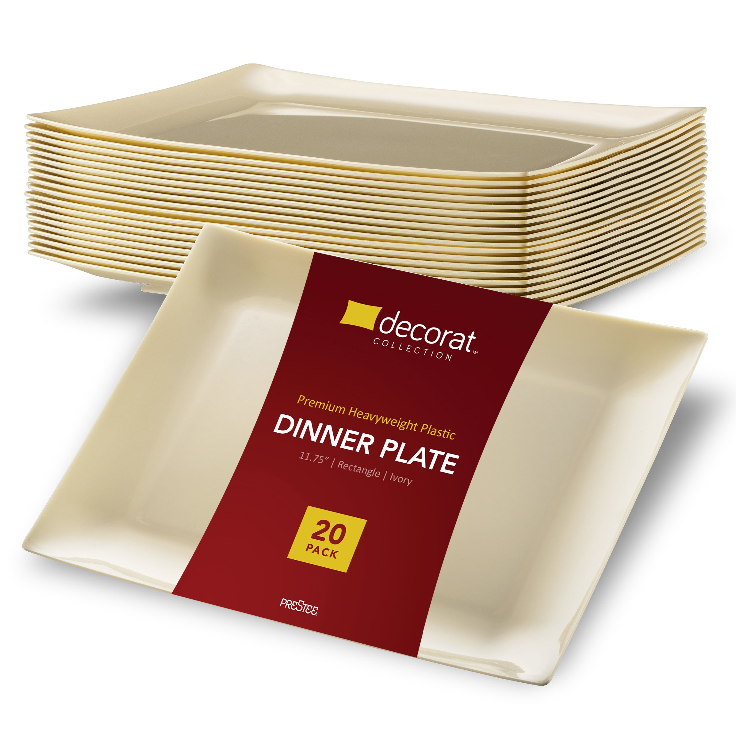 DECORAT PLASTIC PLATES / DINNER PLATES | 11.75 Inch Ivory Party Plates - 20 Pack | Rectangle Disposable Plates | Elegant & Fancy Heavy Duty Party Supplies Plates for all Holidays & Occasions