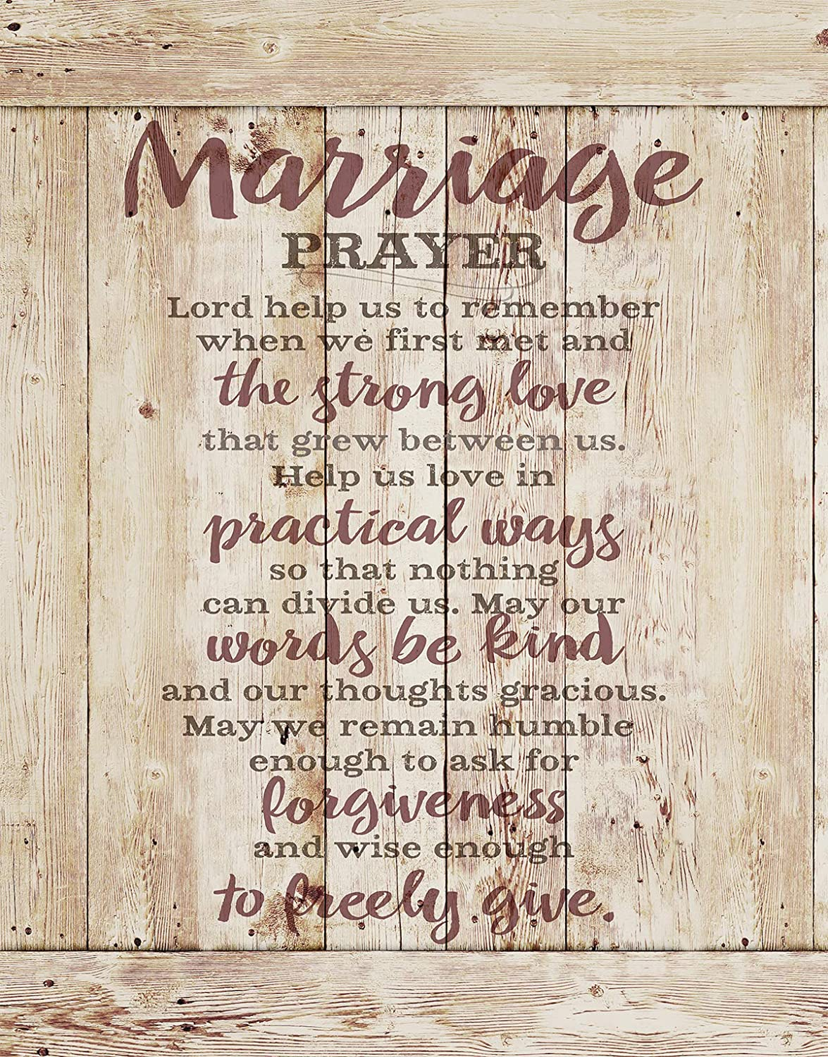 "Marriage Prayer Wood Plaque Inspiring Quote 11.75""x15"" - Classy Vertical Frame Wall Hanging Decoration 