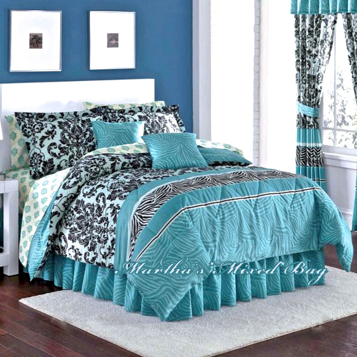 ROYAL Animal SAFARI Teal Zebra Stripe & French Damask Prints Comforter Shams Bedskirt & Sheet Set (8pc's QUEEN SIZE Bed In A Bag)