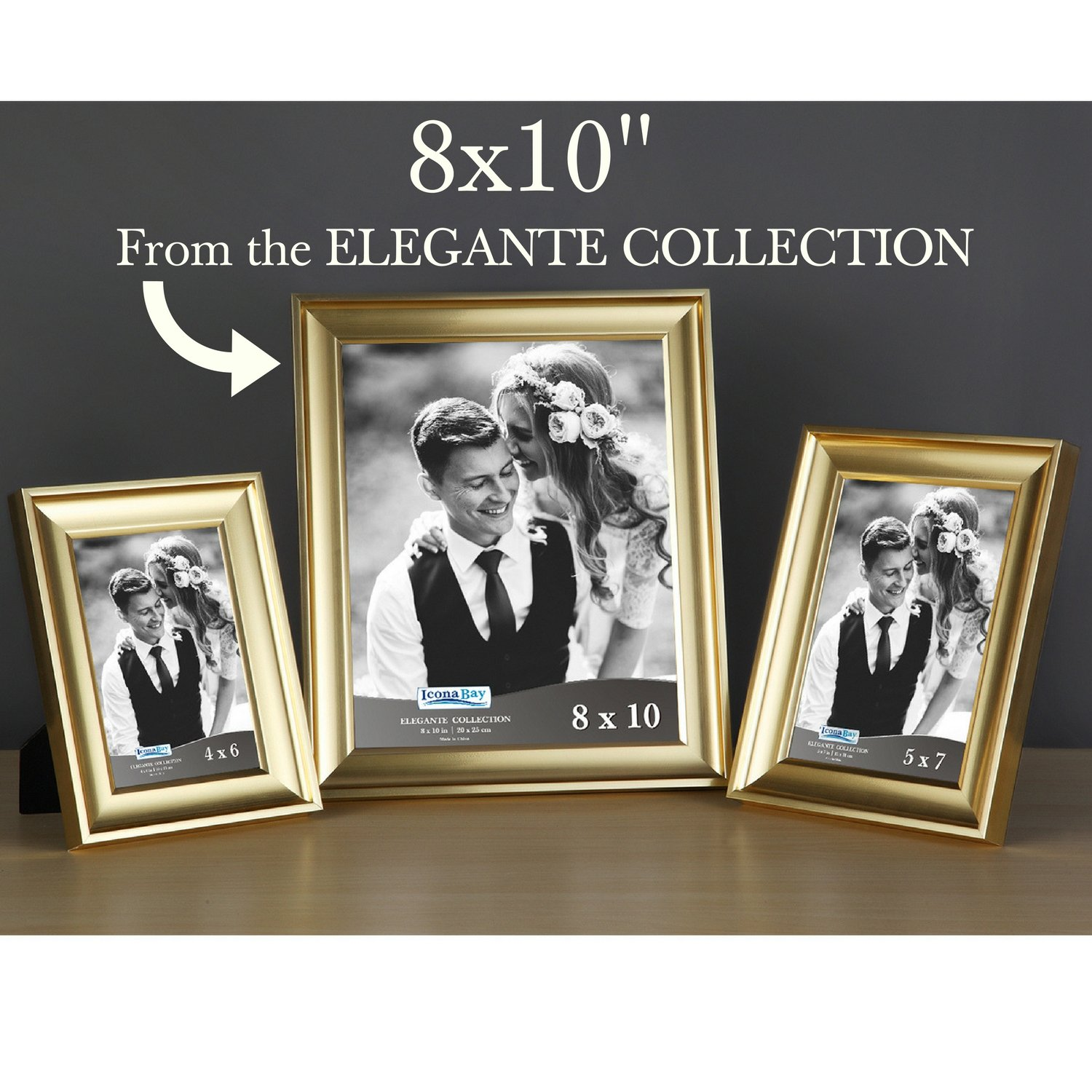 Icona Bay 8x10 Picture Frame (6 Pack, Gold), Gold Photo Frame 8 x 10, Wall Mount or Table Top, Set of 6 Elegante Collection by Icona Bay (Image #8)