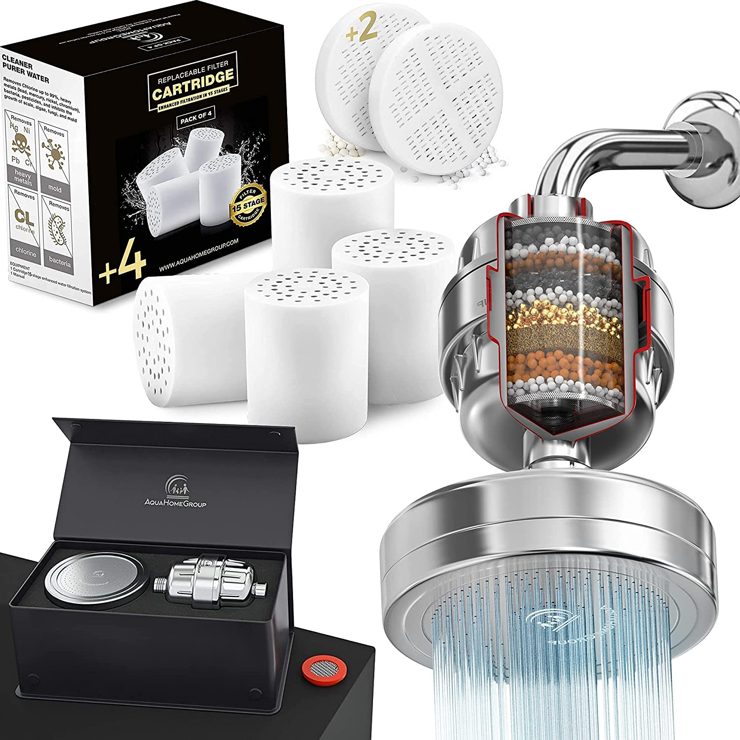 AquaHomeGroup Luxury Filtered Shower Head Set 15 Stage and 4x Replacement Shower Water Filter Cartridge and vitamin c +e cartridge Bundle