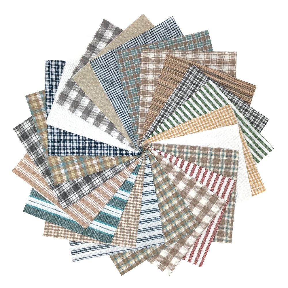 100/% Plaid Cotton Fabric by JCS Whitewash Ragged Homespun Quilt Kit 200 six inch Squares