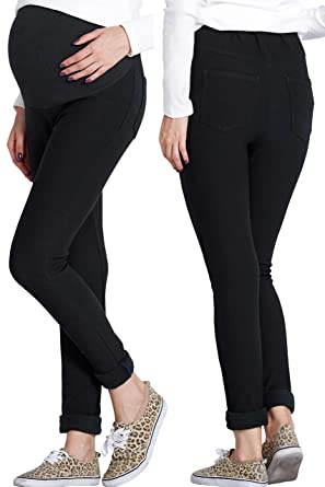 8844088acc09f Sweet Mommy Fleece Lined Stretchy Maternity Skinny Pants at Amazon ...