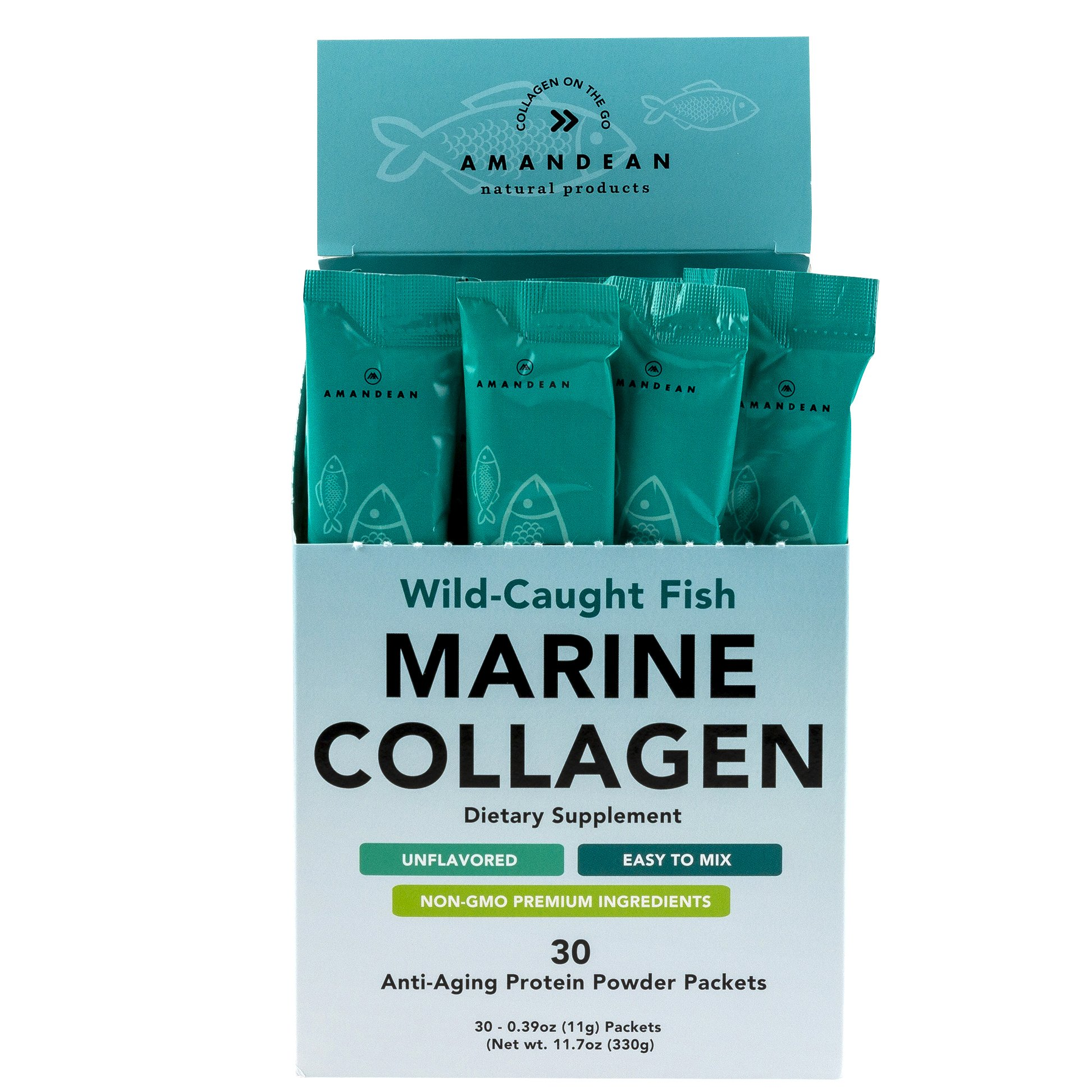 Premium Marine Collagen Peptides Stick Packs   Wild-Caught Fish   30 Single Use Individual Convenience Packets   Anti-Aging, Paleo Friendly, Non-Gmo, Gluten Free, Unflavored   High Bioavailability Mix
