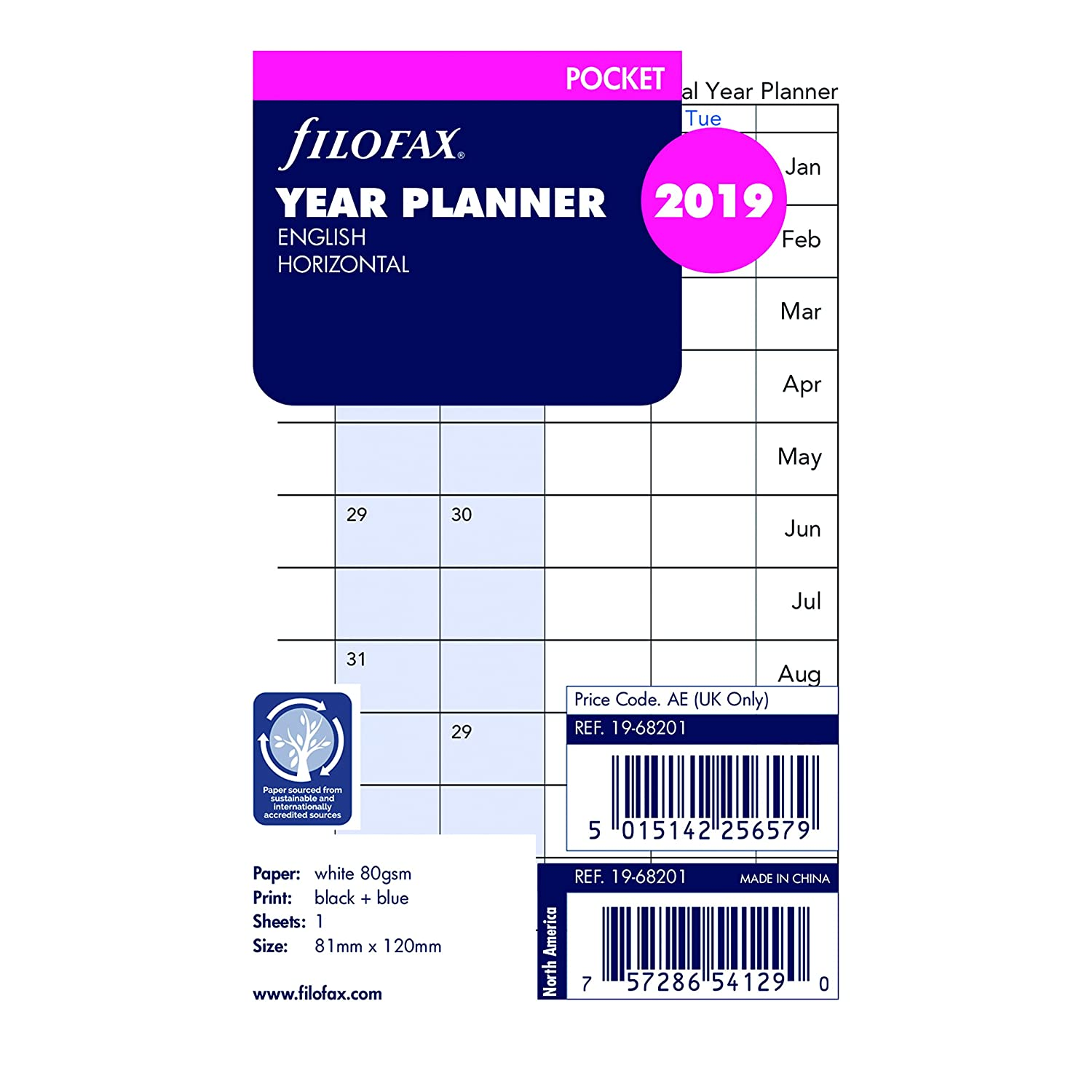 Filofax 2019  Pocket Horizontal Planer Mine, Jan 2018- DEC 2018, 12,1  x 8,3  cm (C68201– 19) REDIFORM OFFICE PRODUCTS C68201-19
