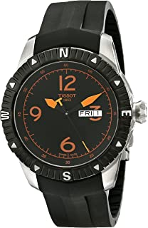 Tissot Mens T Navigator Black/Orange Dial Black Rubber Strap DateDay Automatic Watch