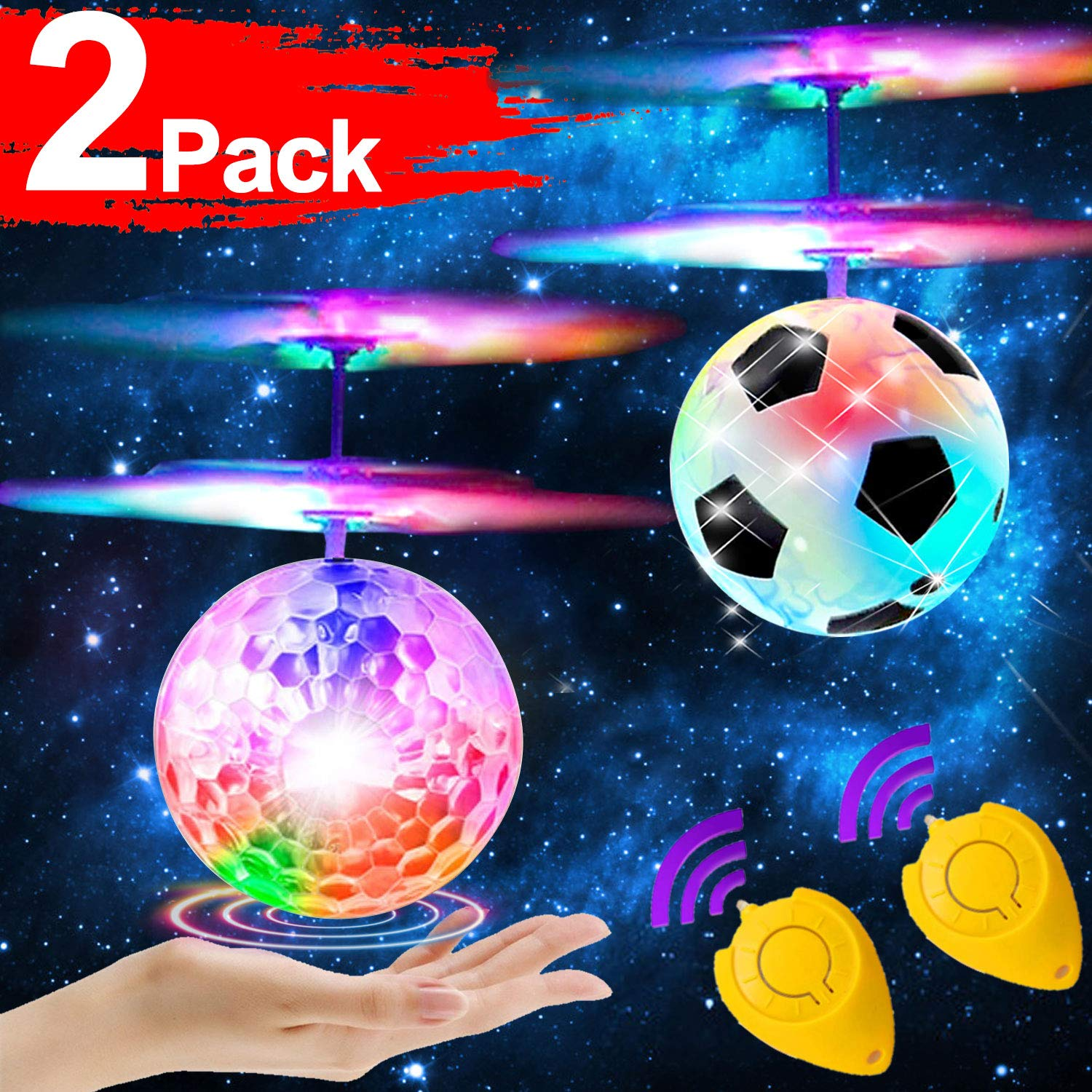 2 Pack Flying Ball for 6, 7, 8, 9, 10, 11, 12,13,14 Year Old Boys Girls Kids RC Flying Ball with Remote Control Glow Mini Drones Hand Controll Helicopter Light Up Balls Toys Indoor Outdoor Games by iGeeKid
