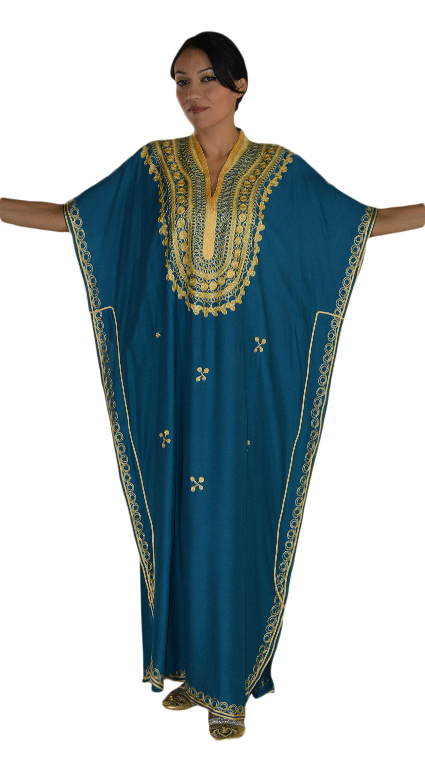 Moroccan Caftan Hand Made Top Quality Breathable Cotton with Gold Hand Embroidery Long Lenght Teal Blue