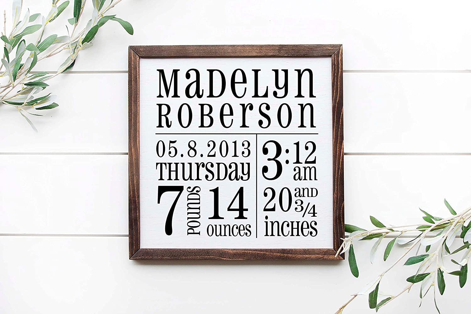 Tamengi Birth Stats Sign, 12x12inch Framed Wooden Sign, Nursery Sign, Newborn Gift, Birth Announcement Sign, Personalized Baby Frame