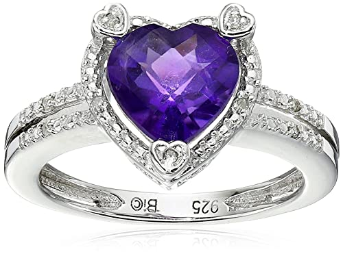 Lavari – 1.50 Ct Heart Natural Purple Amethyst Diamond 925 Sterling Silver Ring