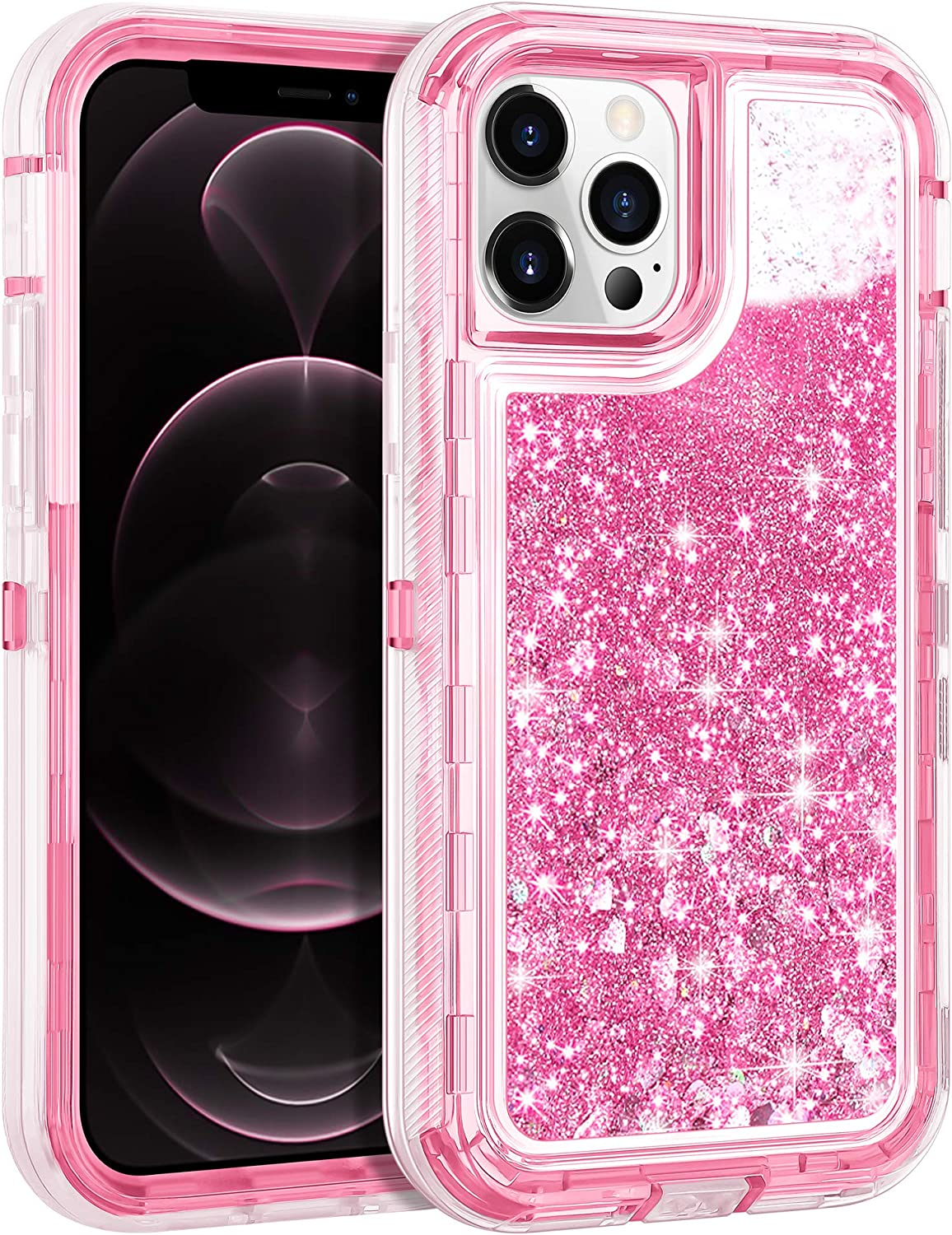 Wollony Case Compatible with iPhone 12, Compatible with iPhone 12 Pro(6.1 inch) Glitter Liquid Bling Quicksand Full Protection Shockproof Hard Bumper Soft Clear Rubber Protective Cover 5G Pink