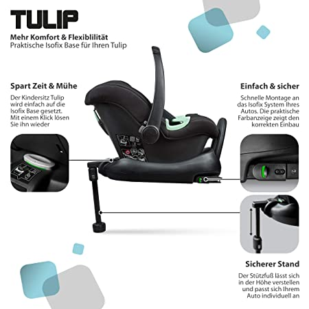 Abc Design Tulip Baby Car Seat Baby Car Seat For Group 0 I Size Up To 13 Kg Adjustable Headrest Side Impact Protection 3 Point Harness System Colour Black Baby