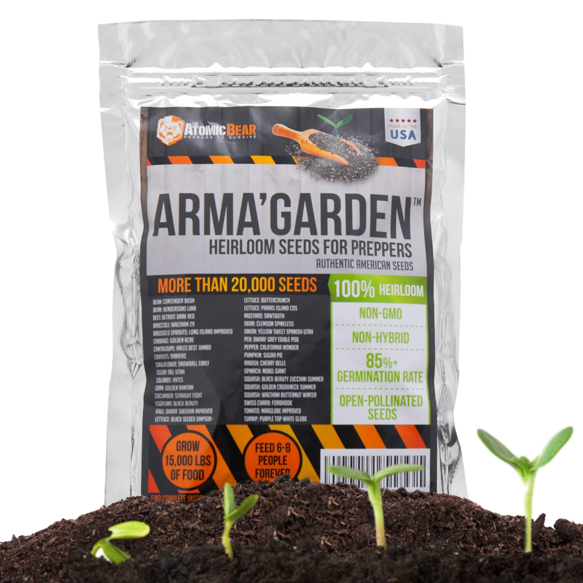 Atomic Bear Heirloom Vegetable Seeds - Non-GMO, Non-Hybrid, Open Pollinated Seeds to Grow 32 Variety of America Heritage Vegetables - Essential Survival Food for Off-the-Grid Preppers Garden by Atomic Bear