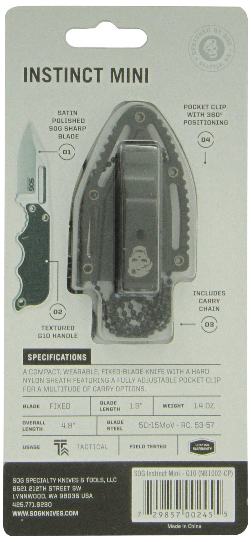 SOG Instinct Mini Fixed Blade NB1002-CP - Satin Polished 1.9'' Blade, Neck/Boot Carry, G10 Handle, Hard Molded Nylon Sheath