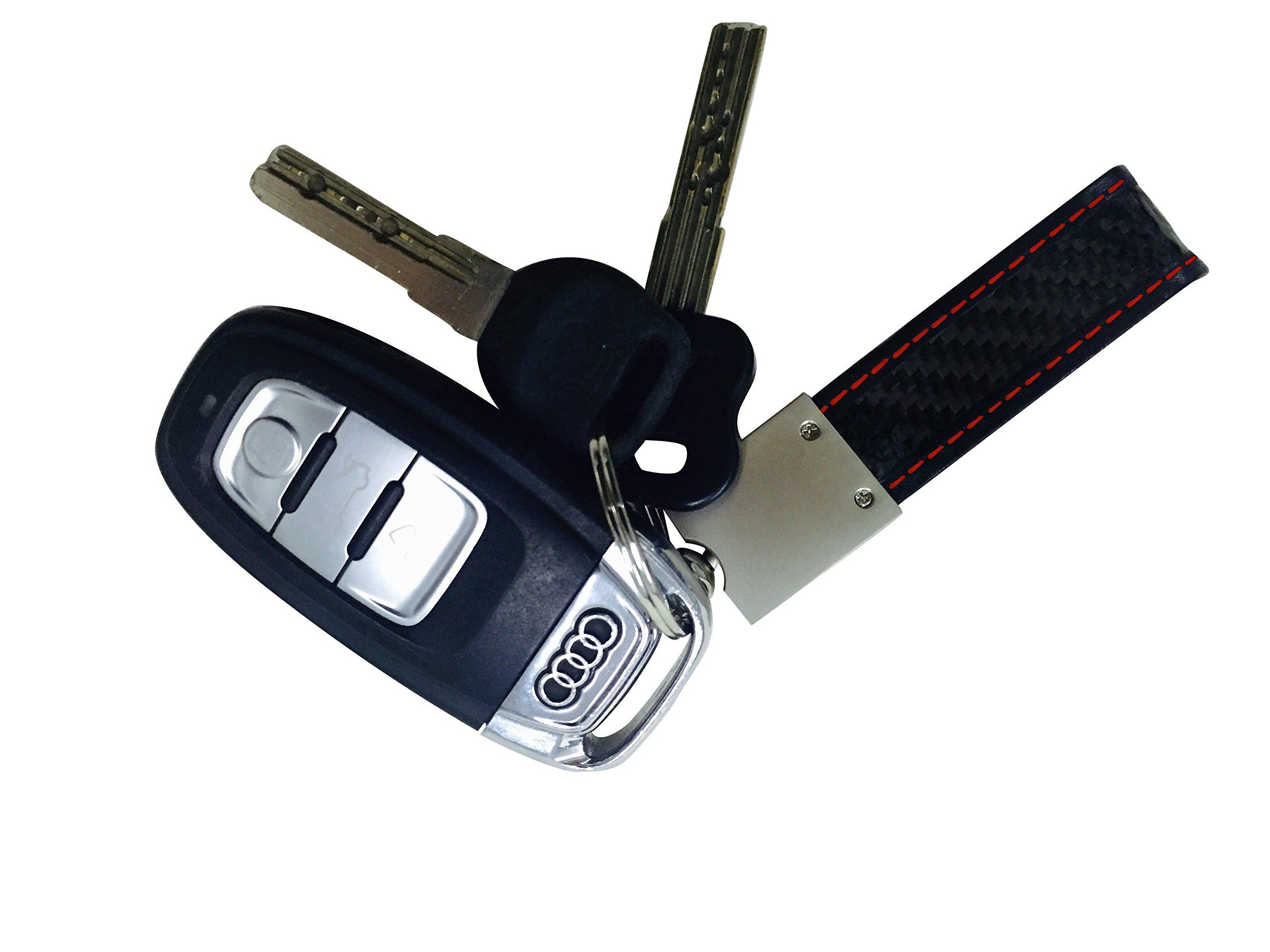 Real Carbon Fiber Keychain Elegant, MGCFTan Timeless,Key chain Red