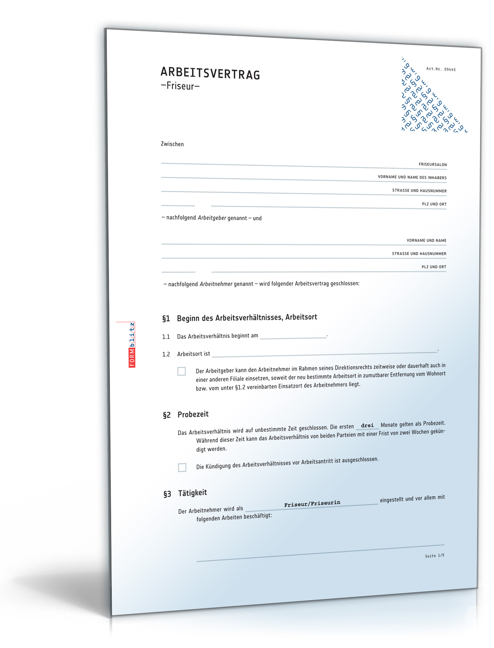 Arbeitsvertrag Friseur [PDF Download] [Download]: Amazon.de: Software
