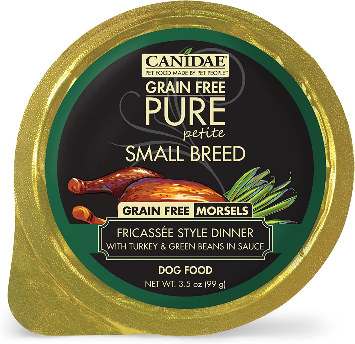 CANIDAE Petite Small Breed, Limited Ingredient Grain Free Wet Dog Food, Turkey & Green Bean Morsels, 3.5oz (12Pk)