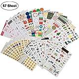 Calendar Planner Stickers (Assorted 2100 PCS, 57 Sheets) with Variety Emoji Florals Words Pattern,Decorative Sticker Collection for Scrapbooking, Calendars, Arts, Kids DIY Crafts, Album, Bullet Jour