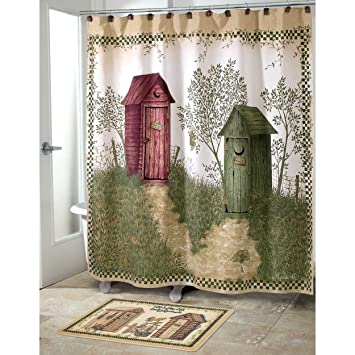 Outhouses Bath Set, 5 Piece | Country Decor Shower Curtain, Rug And More