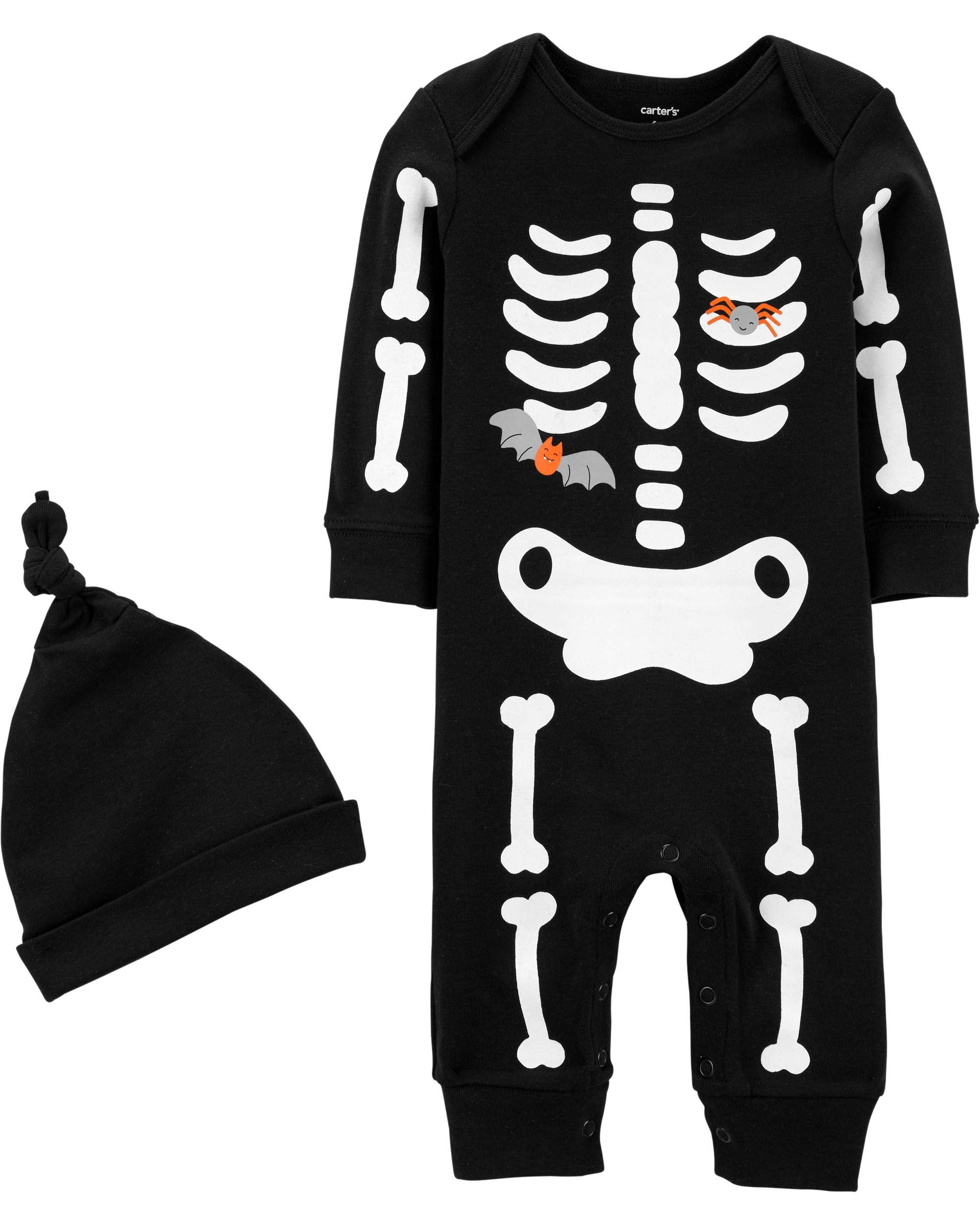 Carter's 2-Piece Halloween Jumpsuit and Cap Set (18 Months, Black/Glow Skeleton) by Carter's