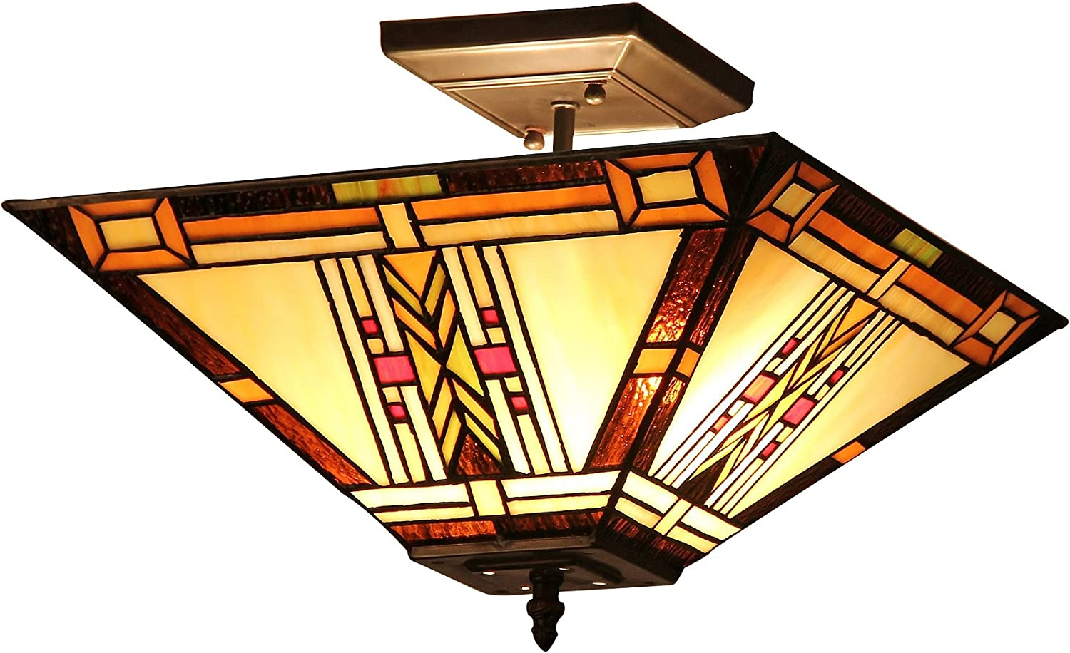 Chloe Lighting CH33291MS14-UF2 Gode, Tiffany-Style Mission 2-Light Semi-Flush Ceiling Fixture, 14-Inch, Multi-Colored
