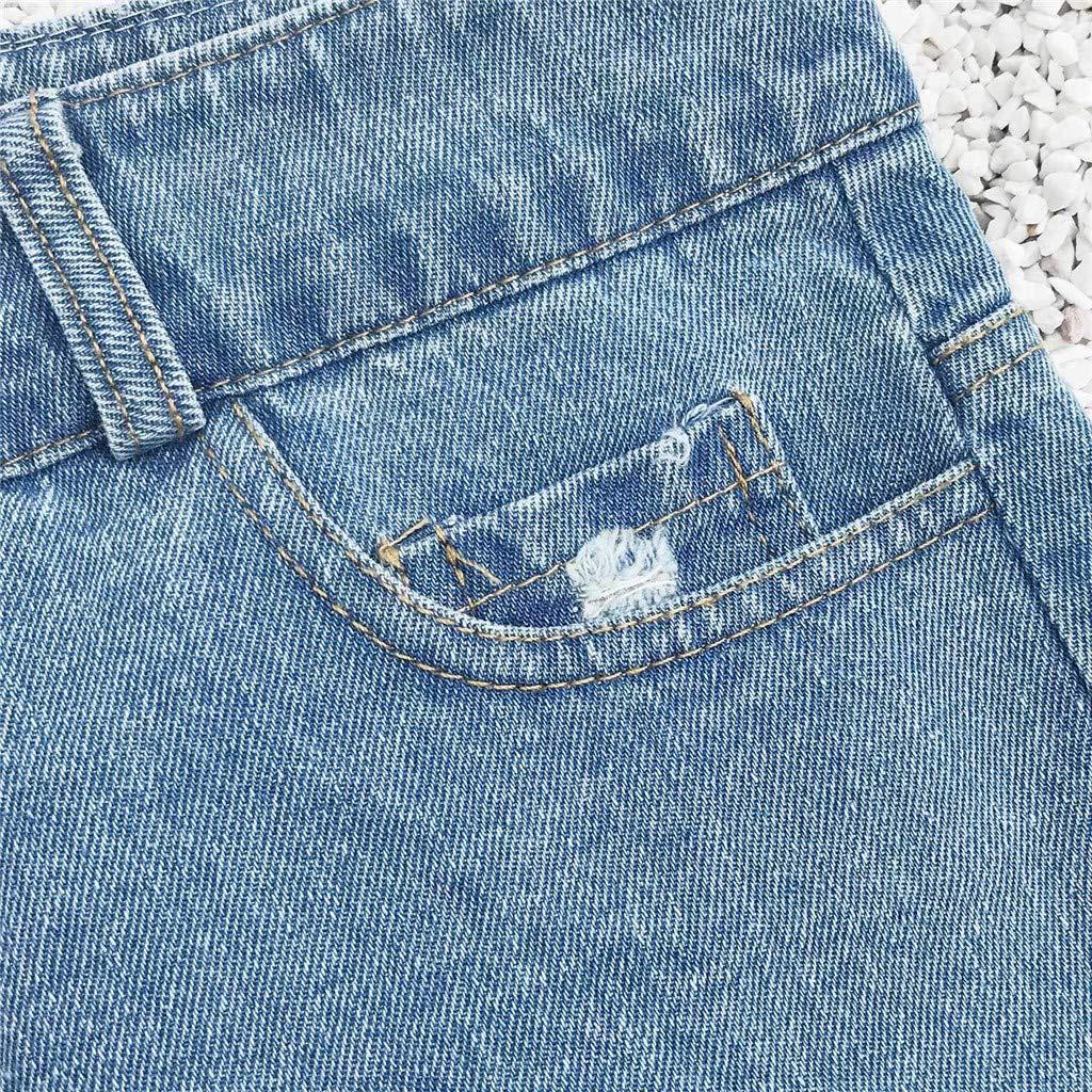 Gusspower Pantalones Cortos Rotos para Mujer Sexy Vaqueros Short Mujer Cintura Alta Verano Jeans Cremallera de Encaje Deporte Elástico Hot Jeans Denim ...